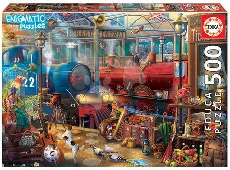 Puzzle 500 dílků - Puzzle Train Station Mysterious Educa 500 dílků a Fix lepidlo od 11 let