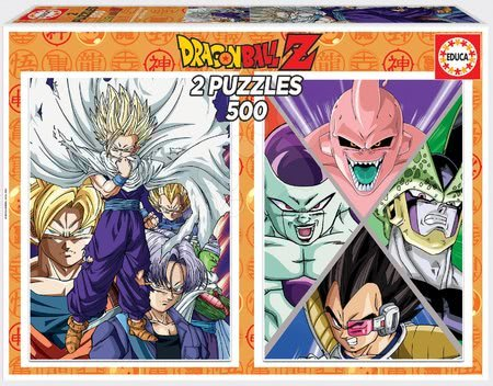 Puzzle Dragon Balls Super Educa 2 x 500 dílků a Fix lepidlo od 11 let
