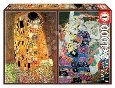 Igračke za sve od 10 godina - Puzzle El Beso+La Virgen Gustav Klimt Educa 2x1000 dijelova i Fix ljepilo od 11 godina