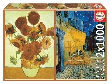 Igračke za sve od 10 godina - Puzzle Los Girasoles+Terraza De café Por La Noche, Vincenta van Gogh Educa 2x1000 dijelova i Fix ljepilo od 11 godina