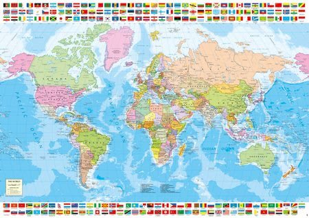 Igračke za sve od 10 godina - Puzzle Political Worldmap Educa 1500 dijelova i Fix ljepilo od 11 godina_1