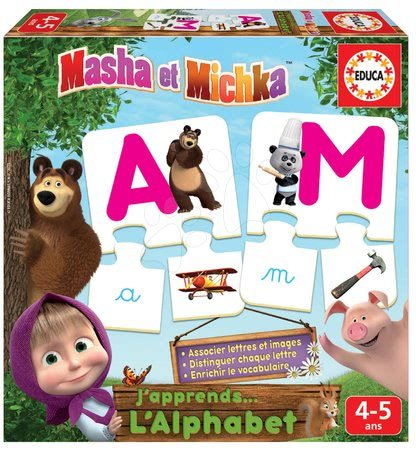Mása és a medve - Puzzle ÁBC betűk Mása és a medve Educa 78 darabos francia 4 évtől