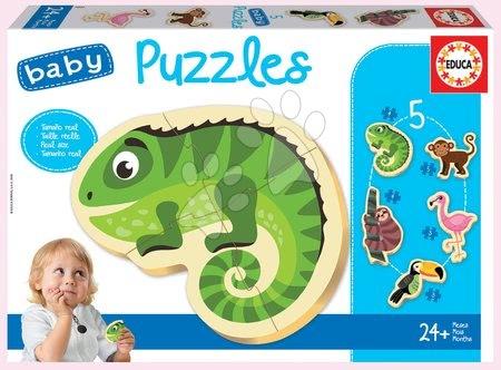 Puzzle pentru copii  - Puzzle pentru cei mici Baby 5 Educa - Animăluțe exotice tropicale de la 24 de luni