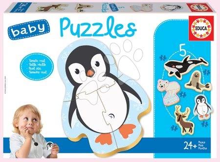 Puzzle pentru copii  - Puzzle pentru cei mici Baby 5 Educa - Animăluțele de la Polul Nord de la 24 de luni