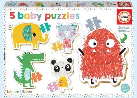 Puzzle pentru copii  - Puzzle pentru cei mici Baby 5 Educa - Animăluțe Baby lemon Ribbon de la 24 luni