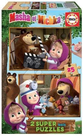 Maša in medved - Lesene puzzle Masha and the bear Educa 2x25 delov