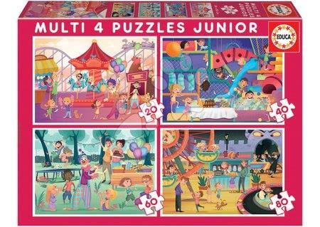 Progresivní dětské puzzle - Puzzle Multi 4 Junior Park atractions+Children's party Educa 20-40-60-80 dílků od 4 let
