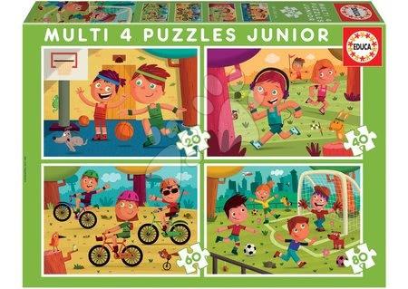 Progresivní dětské puzzle - Puzzle Multi 4 Junior Sport Educa 20-40-60-80 dílků od 4 let