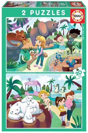 Dětské puzzle do 100 dílků - Puzzle At the ZOO Educa 2 x 20 dílků od 4 let