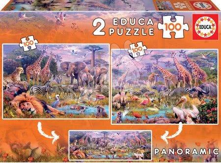 Dětské puzzle od 100–300 dílků - Puzzle panoramatické Divoká zvířata Educa 2 x 100 dílků od 6 let