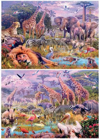 Dětské puzzle od 100–300 dílků - Puzzle panoramatické Divoká zvířata Educa 2 x 100 dílků od 6 let_1