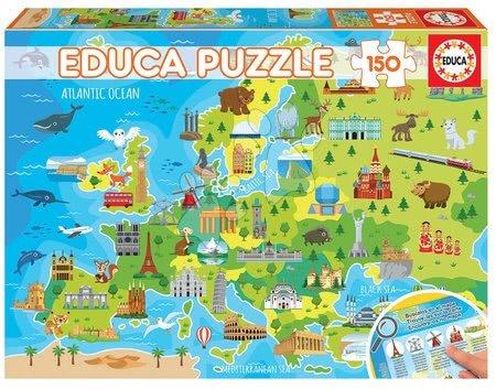 Dětské puzzle od 100–300 dílků - Puzzle Mapa Europy Educa 150 dielov EDU18607