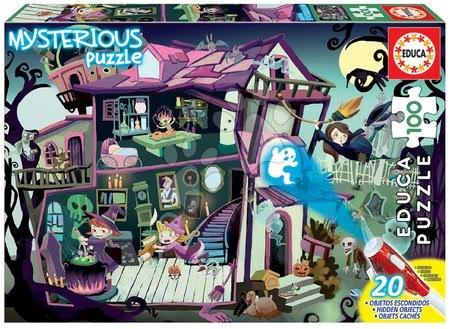 Dětské puzzle do 100 dílků - Puzzle Mysterious Ghost House Educa 100 dílků – světélkující strašidla při lampě od 6 let