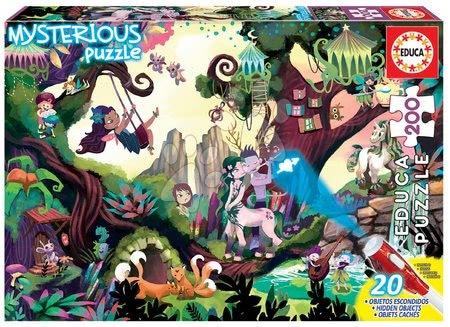 Dětské puzzle od 100–300 dílků - Puzzle Mysterious Magic Forest Educa 200 dílků – světélkující zvířátka při lampě od 6 let
