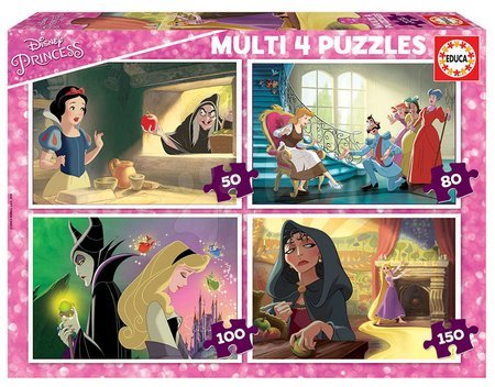 Progresivní dětské puzzle - Puzzle Villains Disney Multi 4 Educa 50-80-100-150 dielov EDU18626