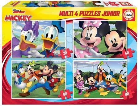 Progresivní dětské puzzle - Puzzle Mickey Mouse Disney Multi 4 Junior Educa 20-40-60-80 dílků od 4 let