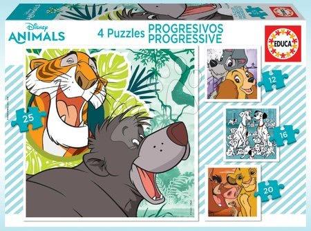 Progresivní dětské puzzle - Puzzle Disney Classics Progressive 4v1 Educa 12-16-20-25 dílků
