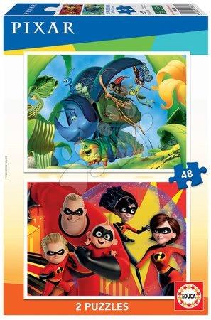 Dětské puzzle do 100 dílků - Puzzle Pixar Disney Educa 2x48 dílků od 4 let
