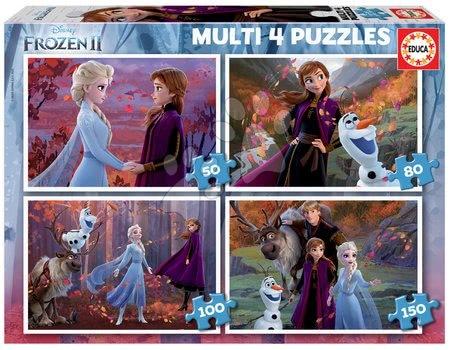 Progresivní dětské puzzle - Puzzle Multi 4 Frozen 2 Disney Educa 50-80-100-150 dílků od 5 let