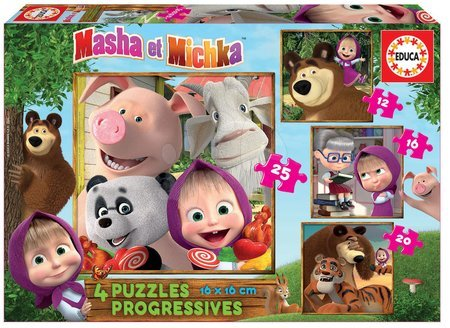 Mása és a medve - Puzzle Masha and the Bear Progressive 4in1 Educa 12-16-20-25 darabos