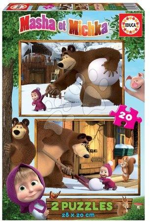 Mása és a medve - Puzzle Mása és a medve Educa 2x20 darabos 4 évtől