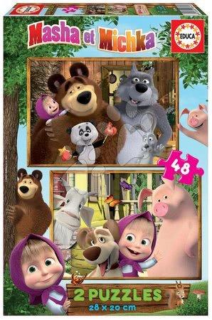 Dětské puzzle do 100 dílků - Puzzle Masha and the bear Educa 2 x 48 dílků od 4 let