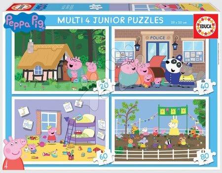 Progresivní dětské puzzle - Puzzle Peppa Pig Multi 4 Junior Educa 20-40-60-80 dílků od 4 let
