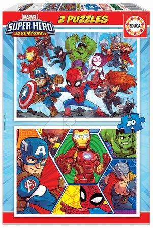 Dětské puzzle do 100 dílků - Puzzle Marvel Super Heroe Adventures Educa 2 x 20 dílků od 4 let