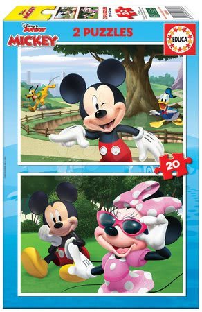 Dětské puzzle do 100 dílků - Puzzle Mickey&Friends Educa 2 x 20 dílků od 4 let