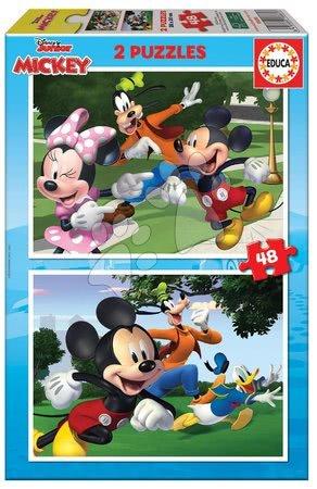 Dětské puzzle do 100 dílků - Puzzle Mickey&Friends Educa 2 x 48 dílků od 4 let