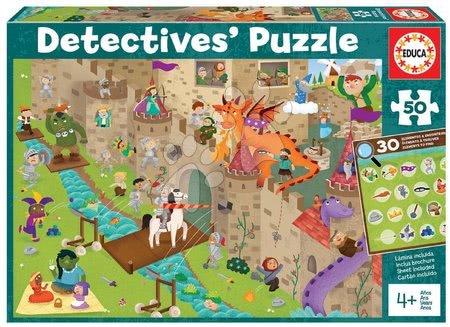 Dětské puzzle do 100 dílků - Puzzle rytířský zámek Detectives Castle Educa hledej 30 předmětů 50dílné od 4 let