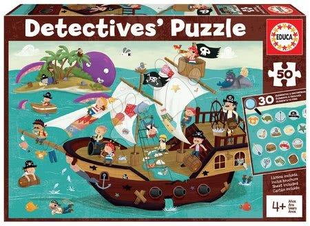 Dětské puzzle do 100 dílků - Puzzle pirátská loď Detectives Pirates Boat Educa hledej 30 předmětů 50dílné od 4 let