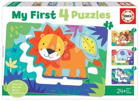 Progresivní dětské puzzle - Puzzle pro nejmenší My Jungle Animals Progressive Educa zvířátka v džungli 5-6-7-8 dílů od 24 měsíců