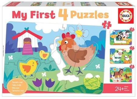 Progresivní dětské puzzle - Puzzle pro nejmenší My Farm Mother&Babies Progressive Educa máma a miminka 5-6-7-8 dílů od 24 měsíců