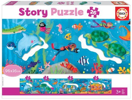 Dětské puzzle do 100 dílků - Puzzle pro nejmenší Story Underwater World Educa pohádka o podmořském světě 26 dílů