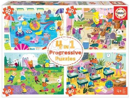 Progresivní dětské puzzle - Puzzle škola School Day Progressive Educa zvířátka školáci 20-40-60-80 dílné od 4 let