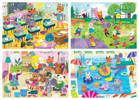 Progresivní dětské puzzle - Puzzle škola School Day Progressive Educa zvířátka školáci 20-40-60-80 dílné od 4 let_1