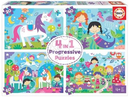 Progresivní dětské puzzle - Puzzle pohádky Fantasy Friends Progressive Educa veselé děti 20-40-60-80dílné od 4 let