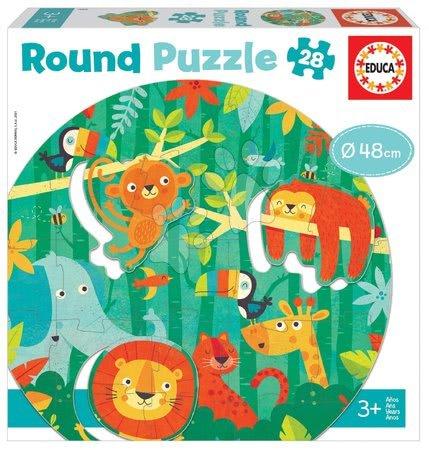 Dětské puzzle do 100 dílků - Puzzle pro nejmenší kulaté The Jungle Round Educa zvířátka v džungli 28 dílů 48 cm průměr