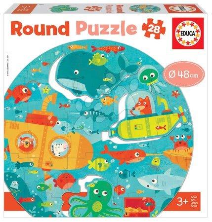 Puzzle pro nejmenší kulaté Under the Sea Round Educa zvířátka v moři 28 dílů 48 cm průměr