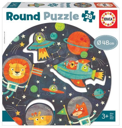 Dětské puzzle do 100 dílků - Puzzle pro nejmenší kulaté The Space Round Educa zvířátka ve vesmíru 28 dílů 48 cm průměr