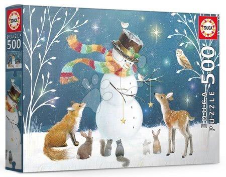 500 delne puzzle - Puzzle Snowman & friends Sarah Summers Educa 500 delov in Fix lepilo od 11 leta
