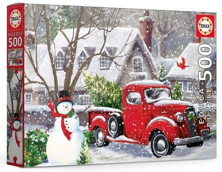 500 delne puzzle - Puzzle Christmas houses Gina Jane Lee Educa 500 delov in Fix lepilo od 11 leta