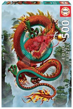 Puzzle 500 dílků - Puzzle Good Fortune Dragon Vincent Hie Educa 500 dílků a Fix lepidlo v balení od 11 let