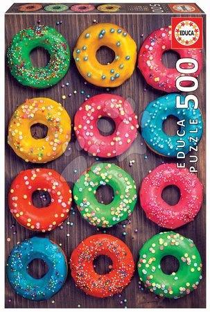 Puzzle 500 dílků - Puzzle Colourful Donuts Educa 500 dílků a Fix lepidlo v balení od 11 let