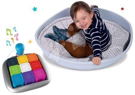 Jucării pentru bebeluși - Set jucărie interactivă Clever Cubes Smart Smoby și scoică de echilibru cu pernă Cosy