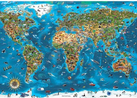 1000 darabos puzzle - Puzzle Wonders of the World Educa 1000 darabos és Fix ragasztóval a csomagban 11 évtől_1