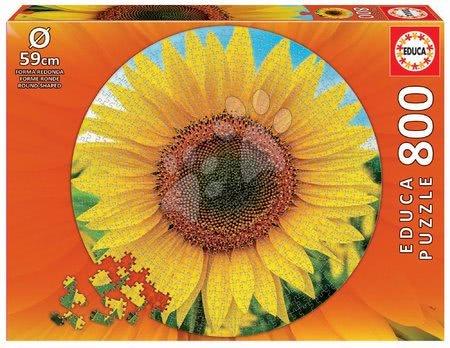 1000 darabos puzzle - Puzzle Sunflower Round Educa 800 darabos és Fix ragasztó 11 évtől