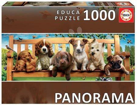 Panoramske puzzle - Puzzle panorama Puppies on a bench Educa 1000 delov in lepilo Fix puzzle od 11 leta