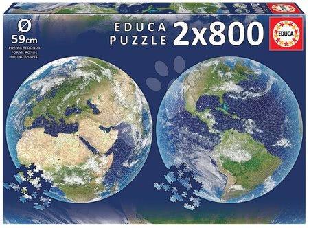 Igračke za sve od 10 godina - Puzzle Planet Earth Round Educa 2x 800 dijelova i Fix ljepilo od 11 godina